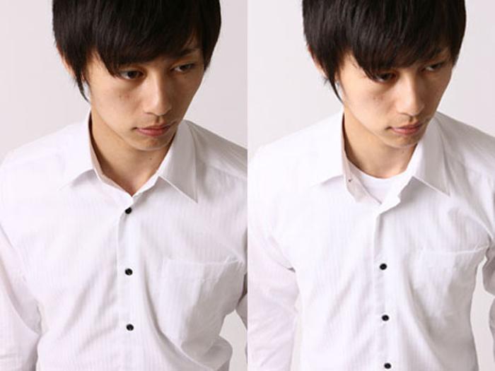 Vネックシャツと普通のTシャツ