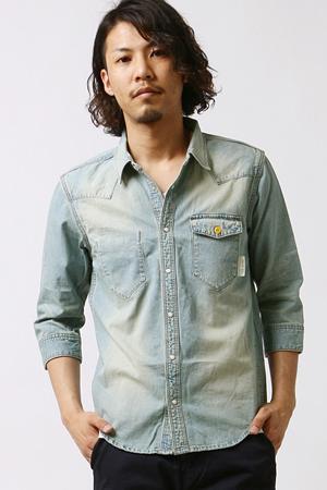 薄い青のウエスタンシャツ