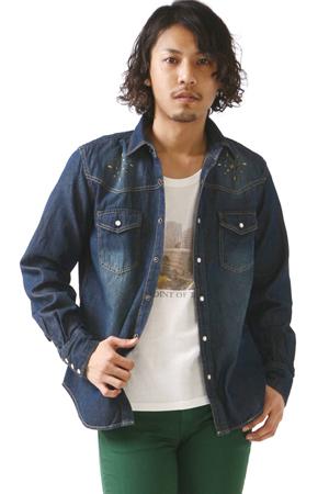 青のウエスタンシャツ
