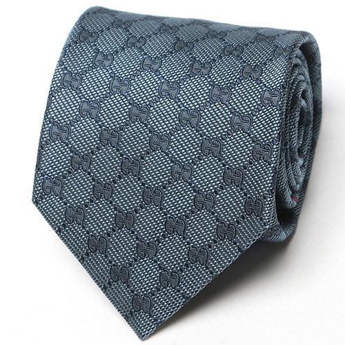 GUCCI (グッチ) シルク100% GGロゴ モノグラム柄 ネクタイ