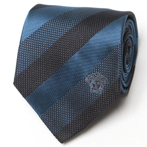 VERSACE (ヴェルサーチ) シルク100% メデューサマーク レジメンタルストライプ ネクタイ